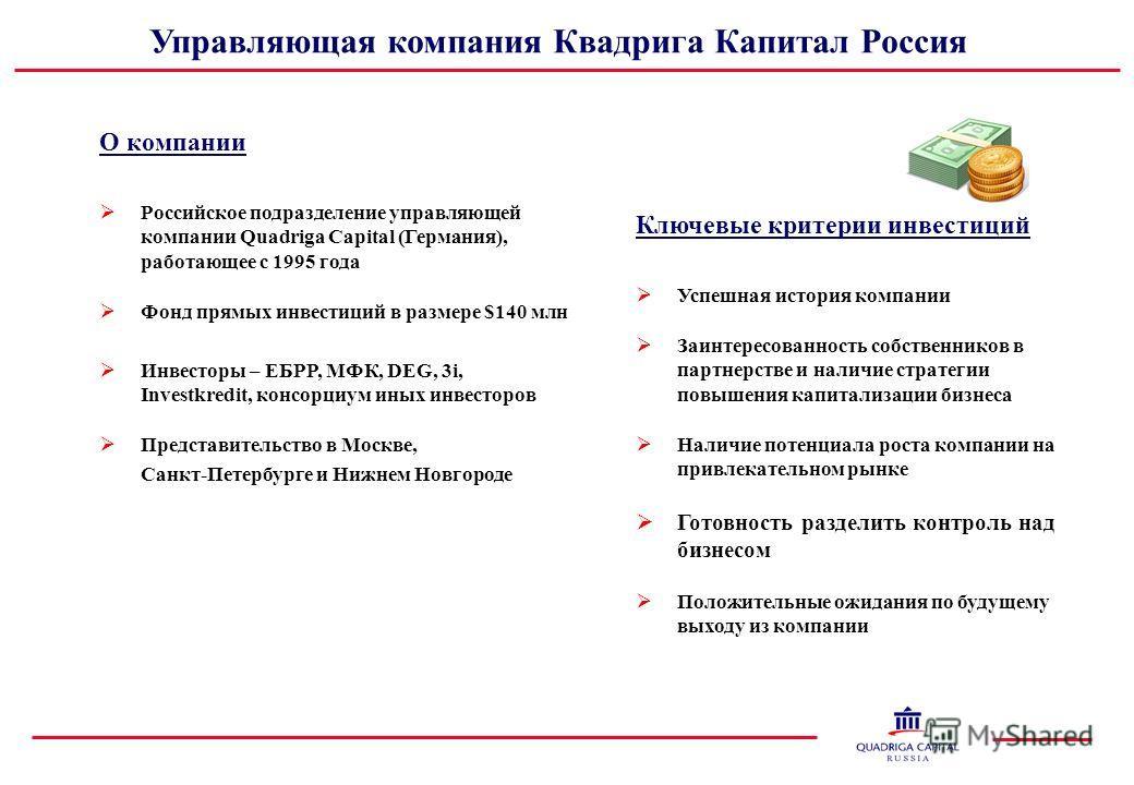 Управляющая компания Квадрига Капитал Россия О компании Российское подразделение управляющей компании Quadriga Capital (Германия), работающее с 1995 года Фонд прямых инвестиций в размере $140 млн Инвесторы – ЕБРР, МФК, DEG, 3i, Investkredit, консорци