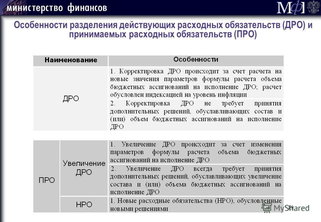 19 Особенности разделения действующих расходных обязательств (ДРО) и принимаемых расходных обязательств (ПРО)