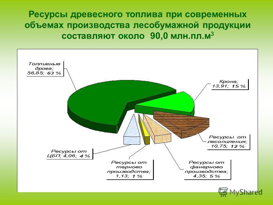 Ресурсы древесного топлива при современных объемах производства лесобумажной продукции составляют около 90,0 млн.пл.м 3
