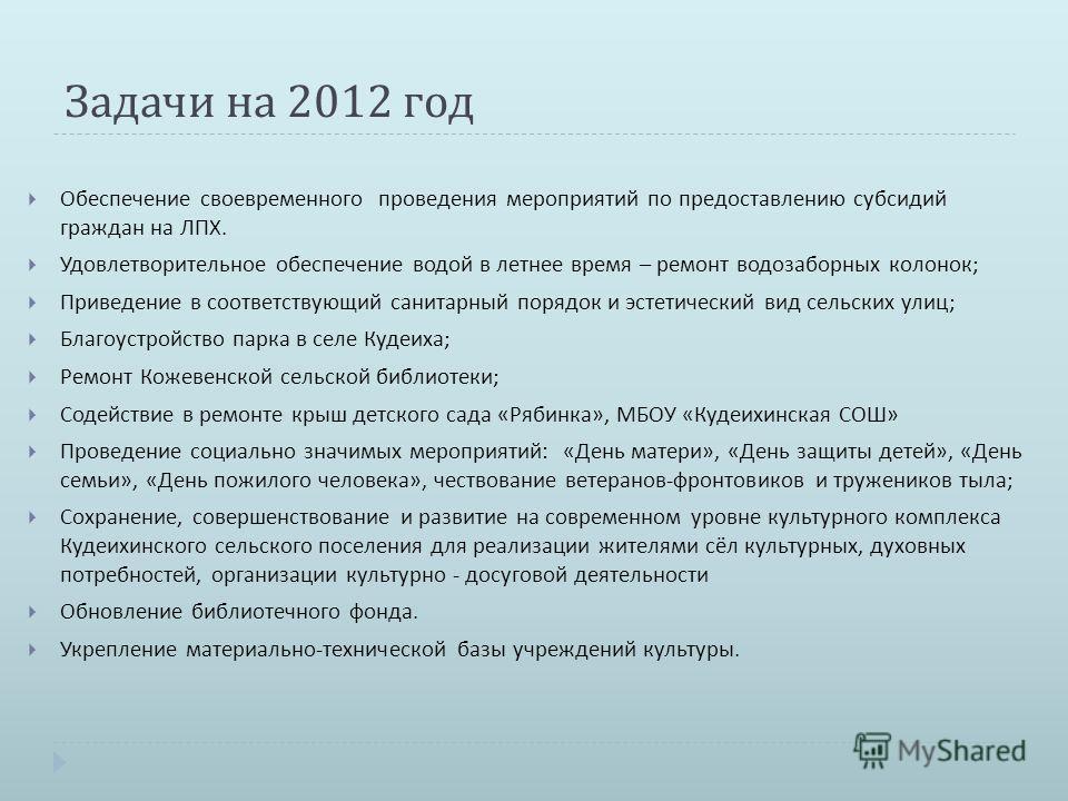 Задачи на 2012 год Обеспечение своевременного проведения мероприятий по предоставлению субсидий граждан на ЛПХ. Удовлетворительное обеспечение водой в летнее время – ремонт водозаборных колонок ; Приведение в соответствующий санитарный порядок и эсте