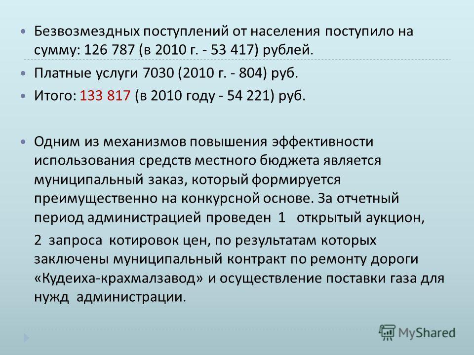 Безвозмездных поступлений от населения поступило на сумму : 126 787 ( в 2010 г. - 53 417) рублей. Платные услуги 7030 (2010 г. - 804) руб. Итого : 133 817 ( в 2010 году - 54 221) руб. Одним из механизмов повышения эффективности использования средств