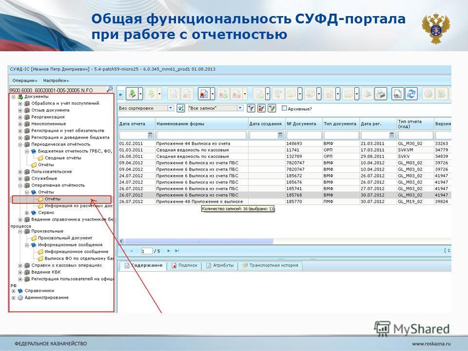 Общая функциональность СУФД-портала при работе с отчетностью