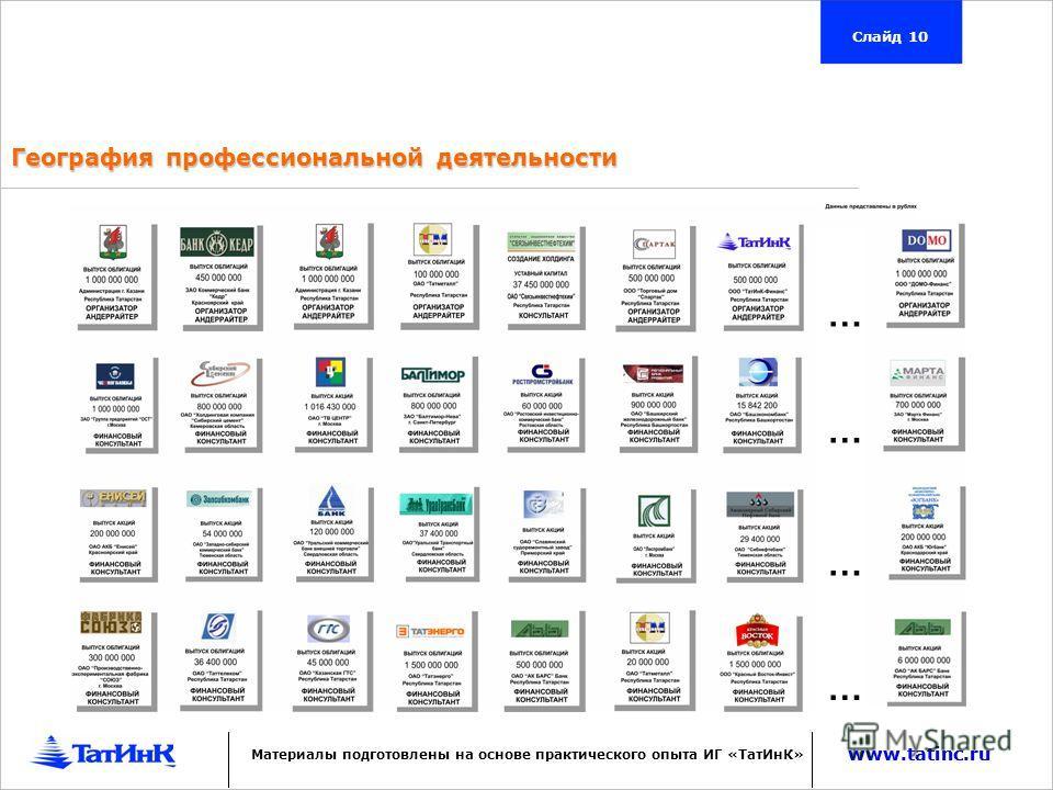 www.tatinc.ru География профессиональной деятельности Слайд 10 www.tatinc.ru Материалы подготовлены на основе практического опыта ИГ «ТатИнК» … … … …
