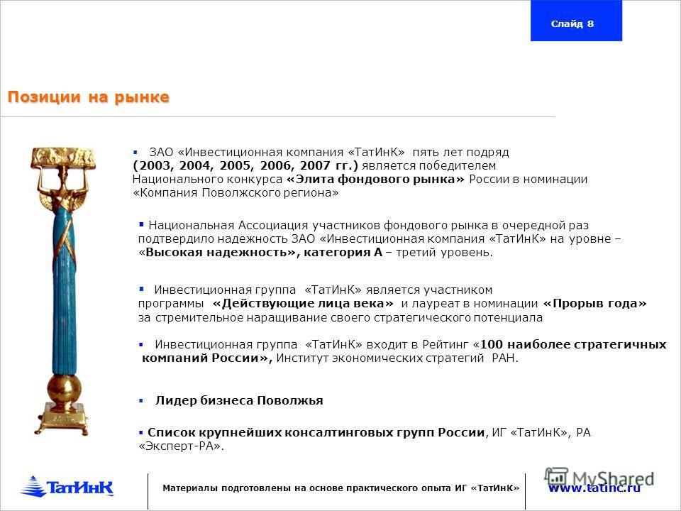 Позиции на рынке ЗАО «Инвестиционная компания «ТатИнК» пять лет подряд (2003, 2004, 2005, 2006, 2007 гг.) является победителем Национального конкурса «Элита фондового рынка» России в номинации «Компания Поволжского региона» Инвестиционная группа «Тат