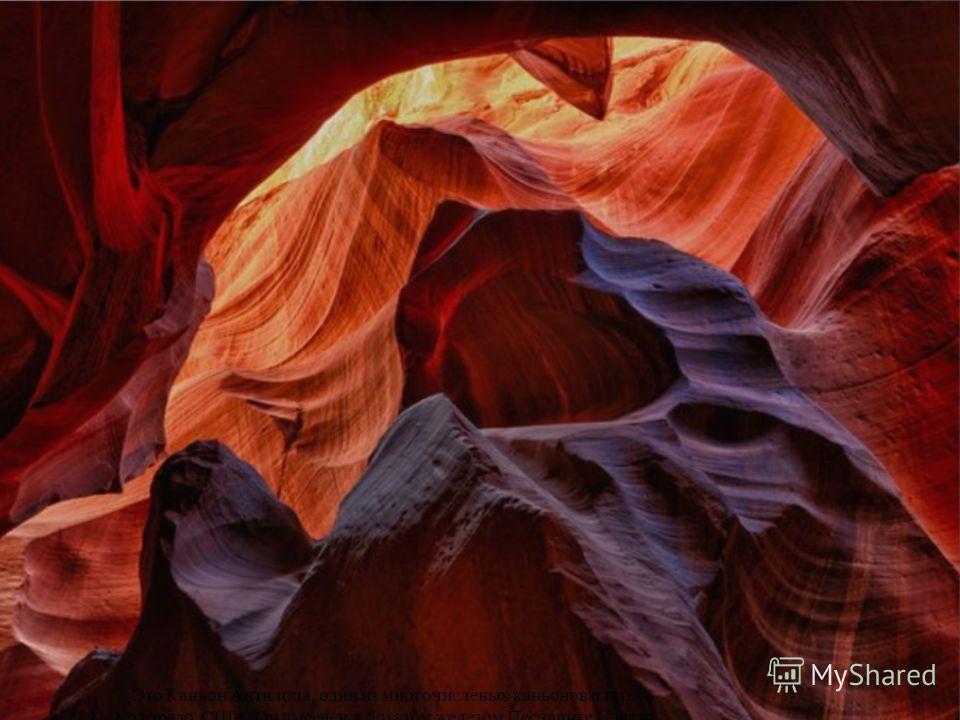 Это Каньон Антилопа, один из многочисленых каньонов плато Колорадо, США. Он высечен в богатом железом Песчанике Навахо ливневыми паводками в сезон дождей.