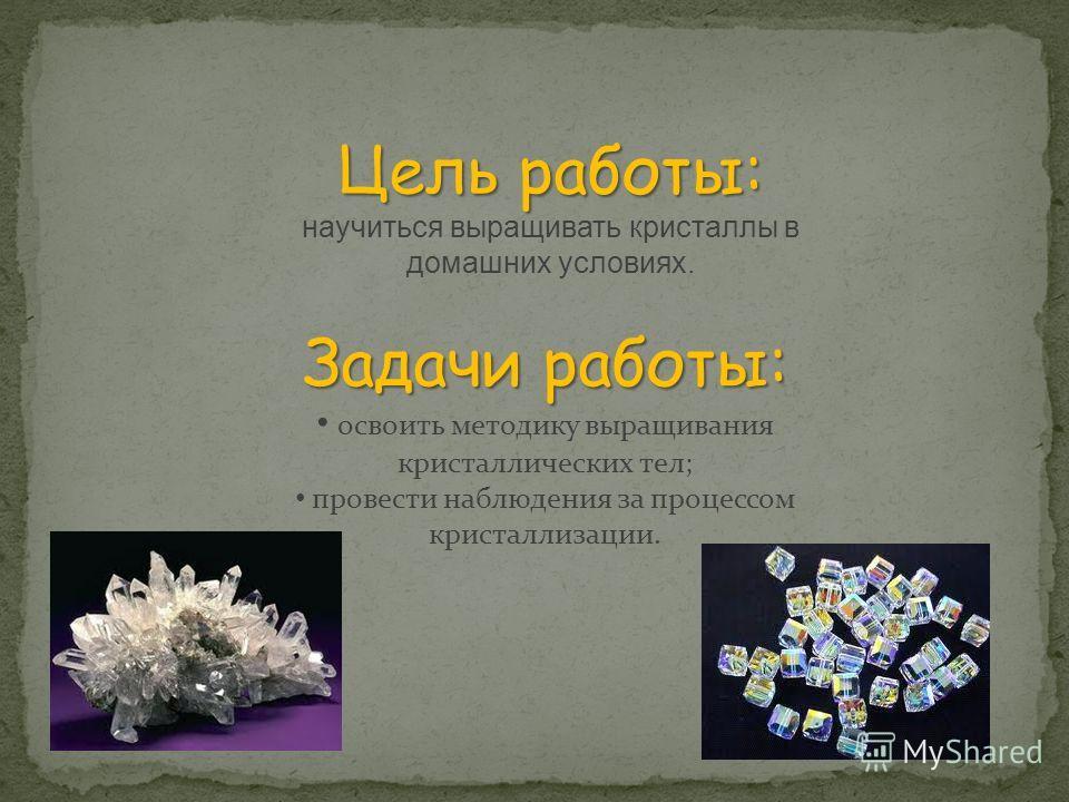 Задачи работы: освоить методику выращивания кристаллических тел; провести наблюдения за процессом кристаллизации. Цель работы: Цель работы: научиться выращивать кристаллы в домашних условиях.