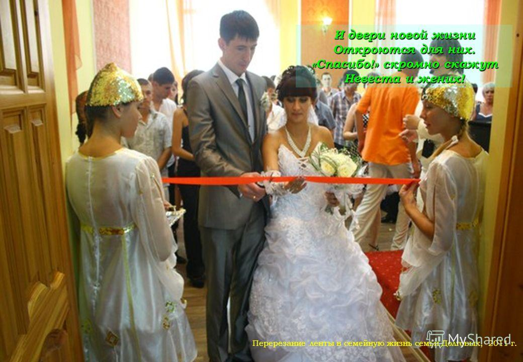 И двери новой жизни Откроются для них. «Спасибо!» скромно скажут Невеста и жених! Перерезание ленты в семейную жизнь семьи Долговых, 2011 г.