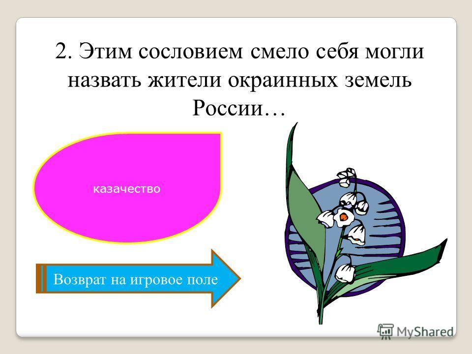 Возврат на игровое поле 2. Этим сословием смело себя могли назвать жители окраинных земель России… казачество