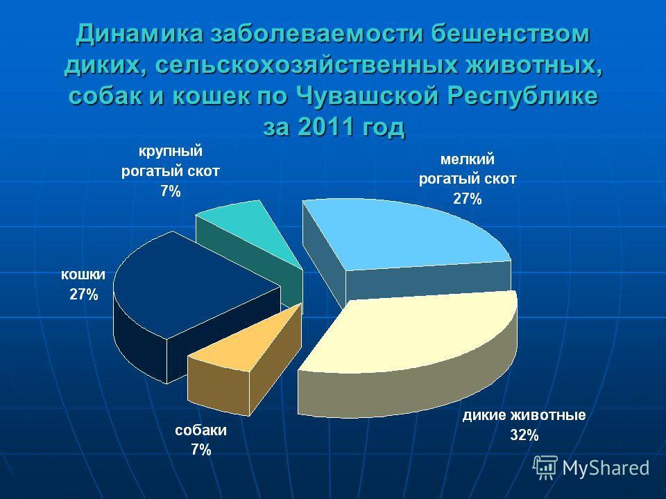 Динамика заболеваемости бешенством диких, сельскохозяйственных животных, собак и кошек по Чувашской Республике за 2011 год