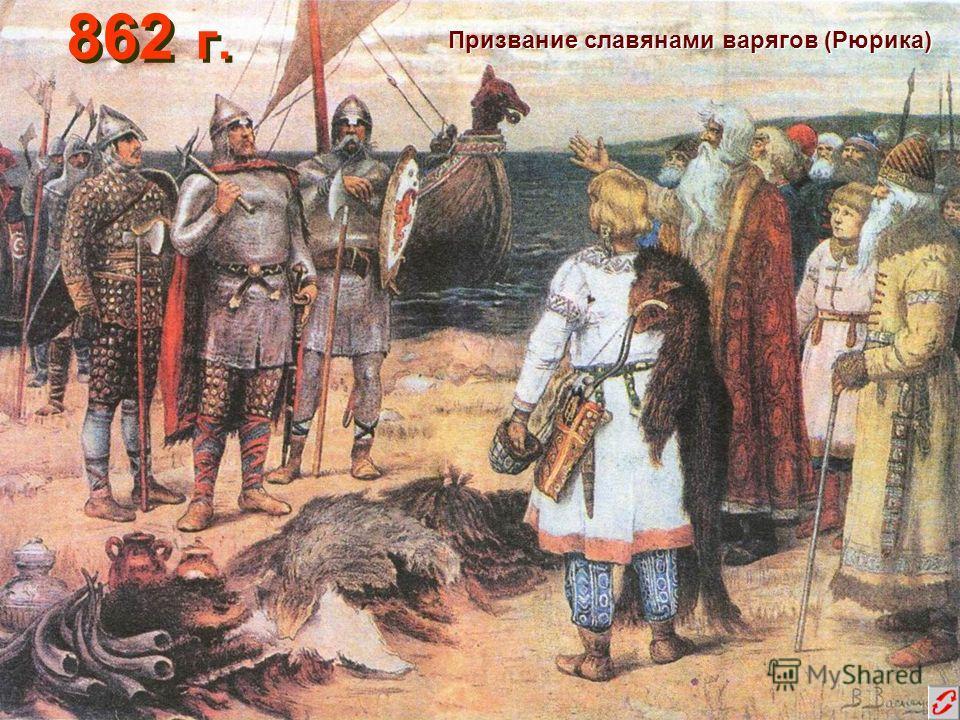 862 г. Призвание славянами варягов (Рюрика)