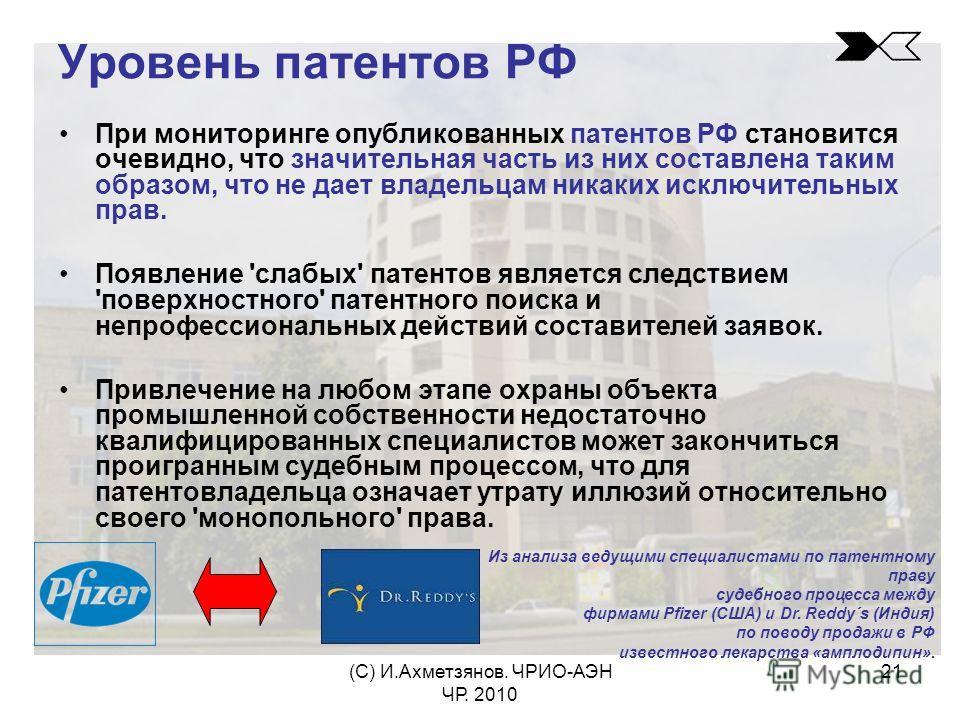 (С) И.Ахметзянов. ЧРИО-АЭН ЧР. 2010 21 Уровень патентов РФ При мониторинге опубликованных патентов РФ становится очевидно, что значительная часть из них составлена таким образом, что не дает владельцам никаких исключительных прав. Появление 'слабых'
