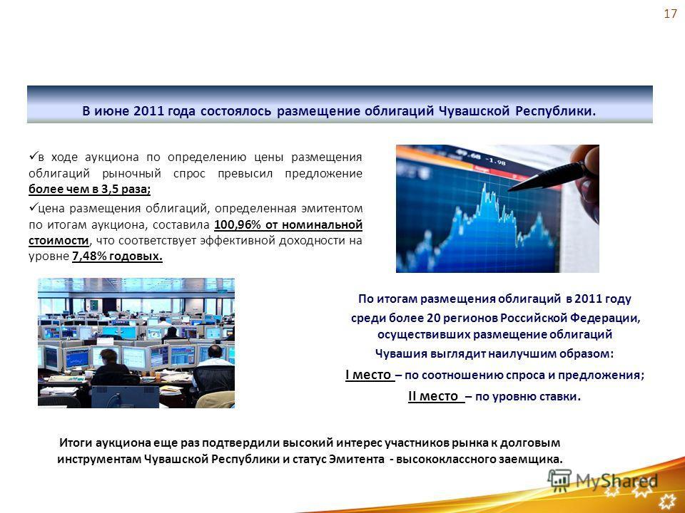 Размещение государственных облигаций Чувашской Республики 2011 года В июне 2011 года состоялось размещение облигаций Чувашской Республики. По итогам размещения облигаций в 2011 году среди более 20 регионов Российской Федерации, осуществивших размещен