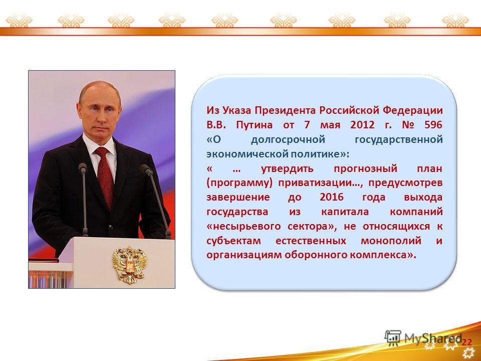 Из Указа Президента Российской Федерации В.В. Путина от 7 мая 2012 г. 596 «О долгосрочной государственной экономической политике»: « … утвердить прогнозный план (программу) приватизации…, предусмотрев завершение до 2016 года выхода государства из кап