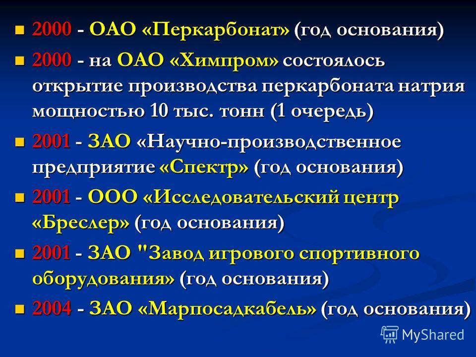 2000 - ОАО «Перкарбонат» (год основания) 2000 - ОАО «Перкарбонат» (год основания) 2000 - на ОАО «Химпром» состоялось открытие производства перкарбоната натрия мощностью 10 тыс. тонн (1 очередь) 2000 - на ОАО «Химпром» состоялось открытие производства