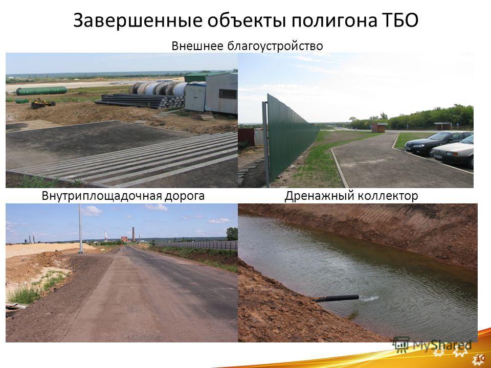 10 Завершенные объекты полигона ТБО Внешнее благоустройство Дренажный коллекторВнутриплощадочная дорога