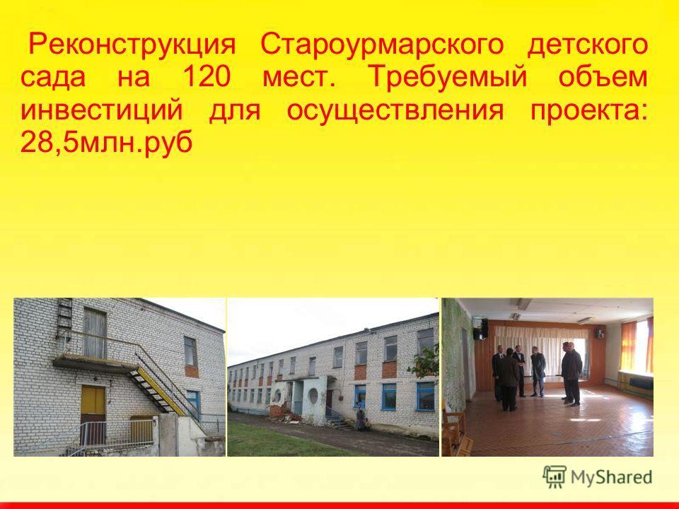 Реконструкция Староурмарского детского сада на 120 мест. Требуемый объем инвестиций для осуществления проекта: 28,5млн.руб