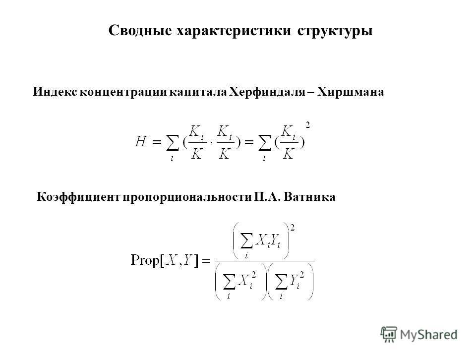 Индекс концентрации капитала Херфиндаля – Хиршмана Сводные характеристики структуры Коэффициент пропорциональности П.А. Ватника