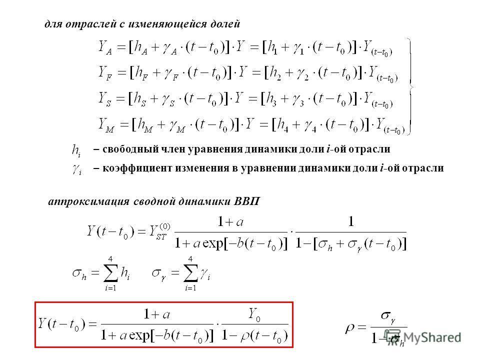 – свободный член уравнения динамики доли i -ой отрасли – коэффициент изменения в уравнении динамики доли i -ой отрасли для отраслей с изменяющейся долей аппроксимация сводной динамики ВВП