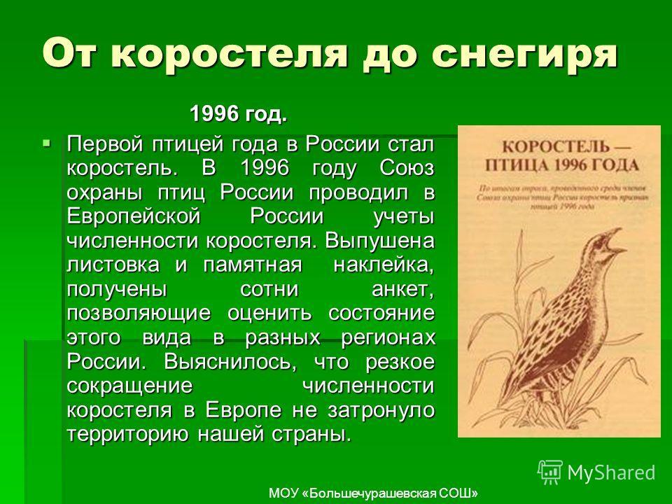 От коростеля до снегиря 1996 год. Первой птицей года в России стал коростель. В 1996 году Союз охраны птиц России проводил в Европейской России учеты численности коростеля. Выпушена листовка и памятная наклейка, получены сотни анкет, позволяющие оцен