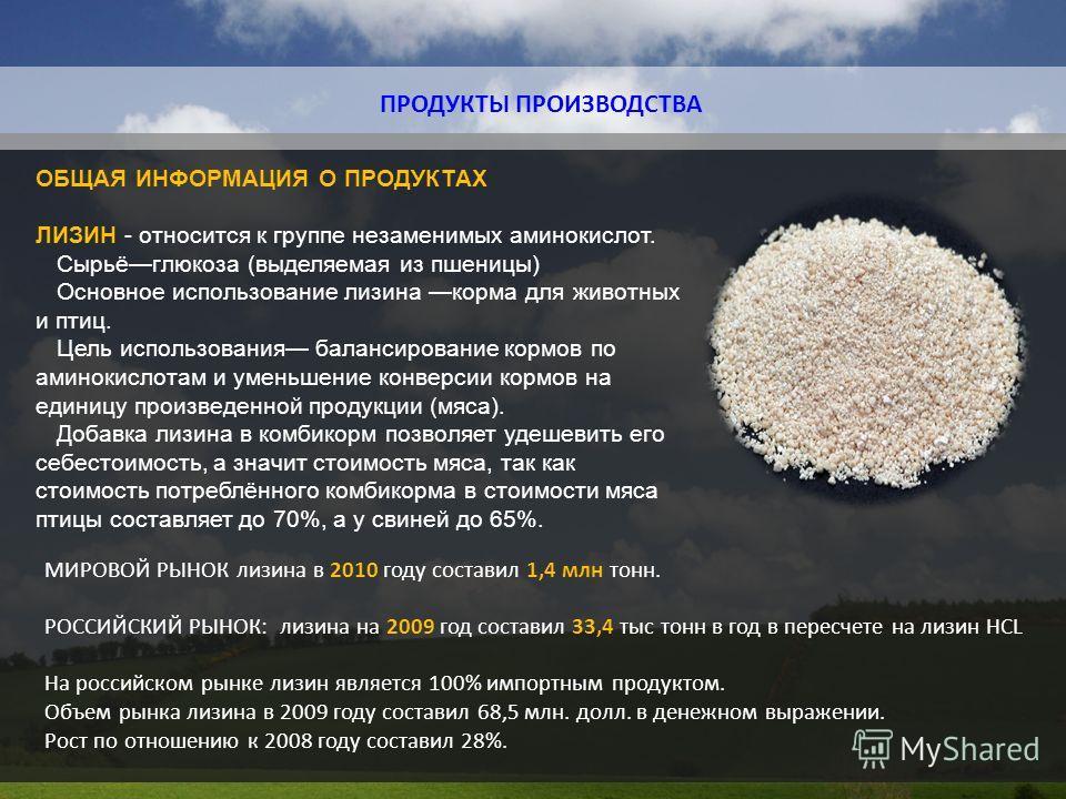 ПРОДУКТЫ ПРОИЗВОДСТВА ОБЩАЯ ИНФОРМАЦИЯ О ПРОДУКТАХ ЛИЗИН - относится к группе незаменимых аминокислот. Сырьёглюкоза (выделяемая из пшеницы) Основное использование лизина корма для животных и птиц. Цель использования балансирование кормов по аминокисл