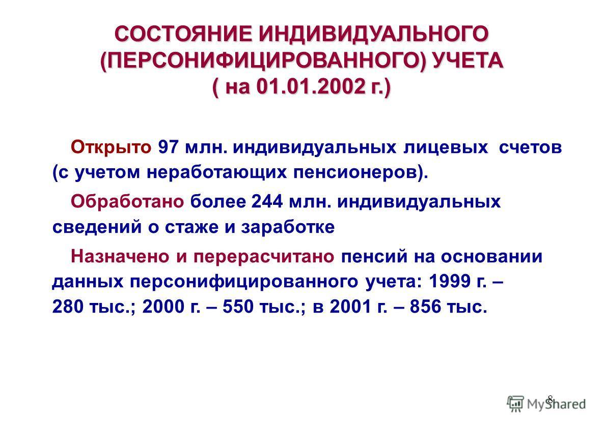 8 СОСТОЯНИЕ ИНДИВИДУАЛЬНОГО (ПЕРСОНИФИЦИРОВАННОГО) УЧЕТА ( на 01.01.2002 г.) Открыто 97 млн. индивидуальных лицевых счетов (с учетом неработающих пенсионеров). Обработано более 244 млн. индивидуальных сведений о стаже и заработке Назначено и перерасч