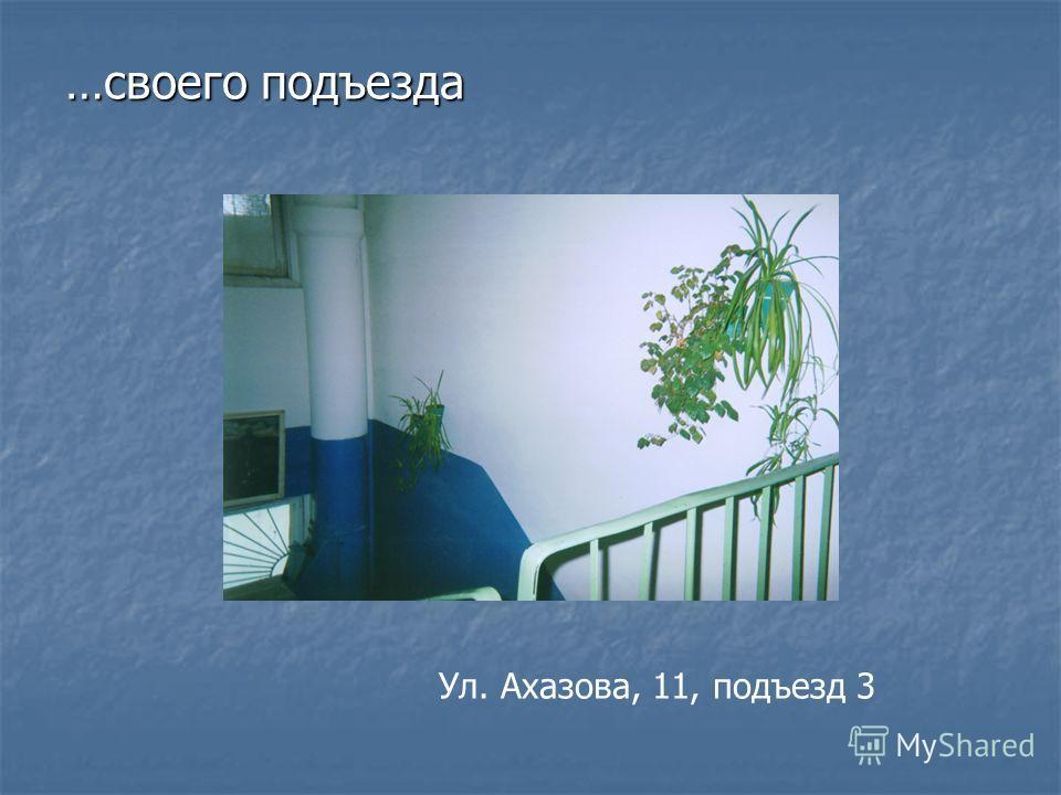 …своего подъезда Ул. Ахазова, 11, подъезд 3