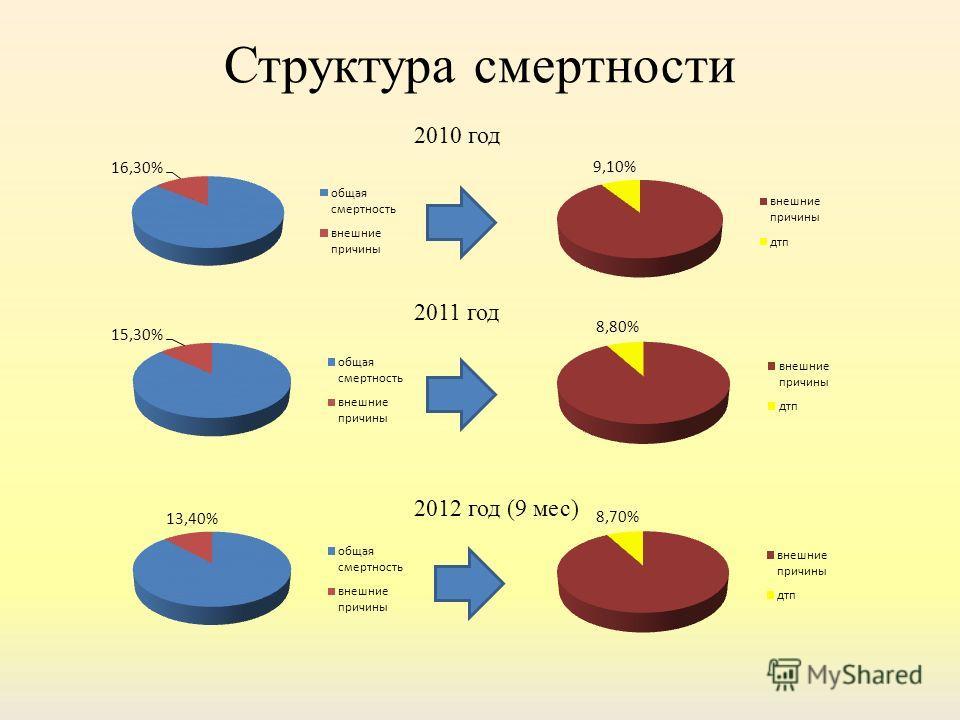 Структура смертности 2010 год 2011 год 2012 год (9 мес)