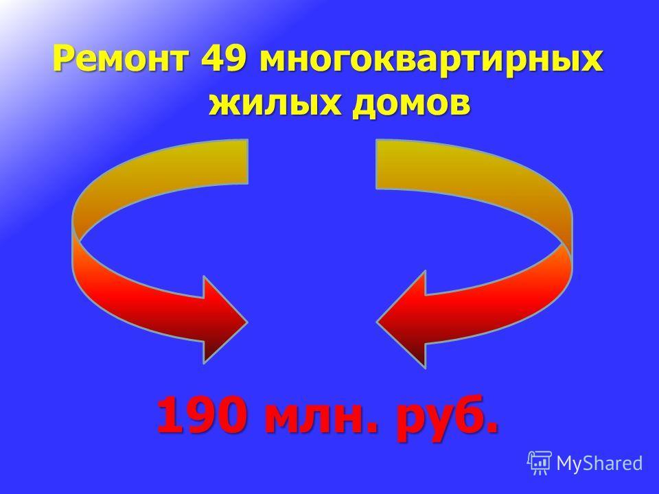 Ремонт 49 многоквартирных жилых домов 190 млн. руб.