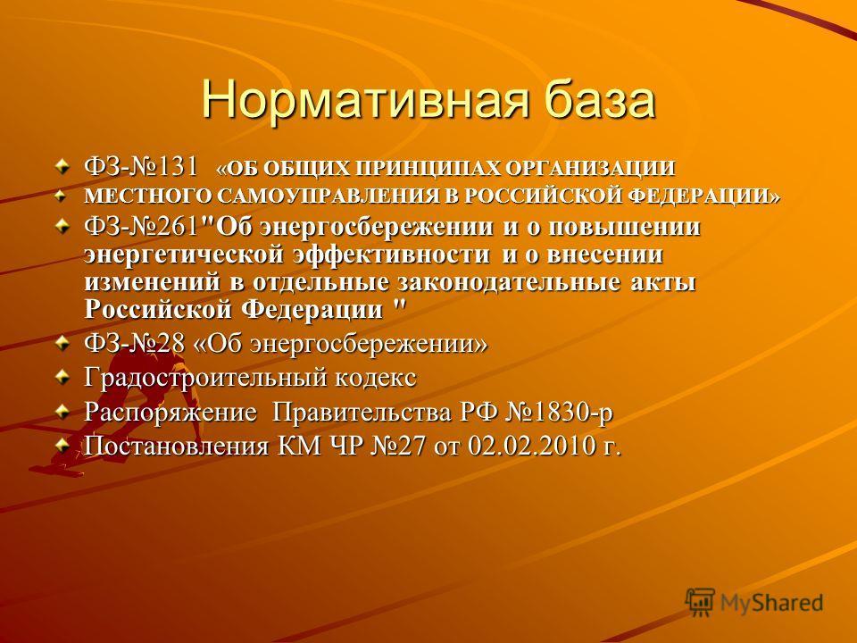 Нормативная база ФЗ-131 «ОБ ОБЩИХ ПРИНЦИПАХ ОРГАНИЗАЦИИ МЕСТНОГО САМОУПРАВЛЕНИЯ В РОССИЙСКОЙ ФЕДЕРАЦИИ» ФЗ-261