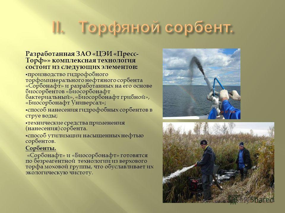 Разработанная ЗАО « ЦЭИ « Пресс - Торф »» комплексная технология состоит из следующих элементов : производство гидрофобного торфоминерального нефтяного сорбента « Сорбонафт » и разработанных на его основе биосорбентов « Биосорбонафт бактериальный »,