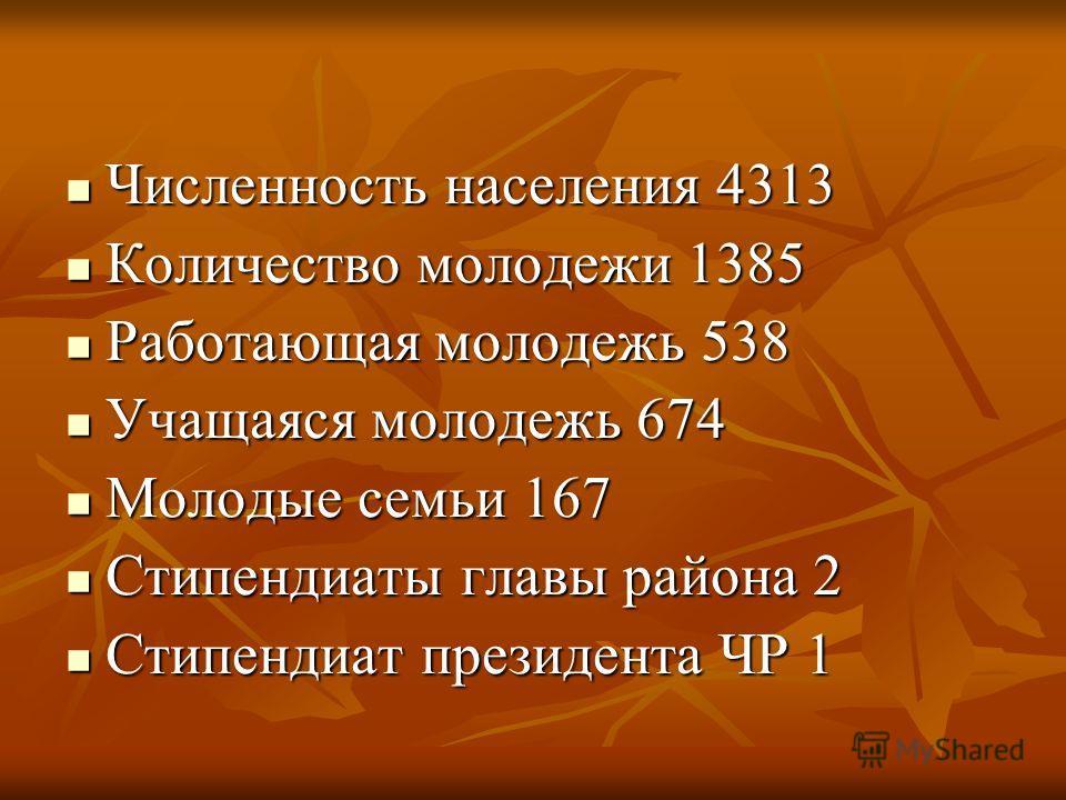 Численность населения 4313 Численность населения 4313 Количество молодежи 1385 Количество молодежи 1385 Работающая молодежь 538 Работающая молодежь 538 Учащаяся молодежь 674 Учащаяся молодежь 674 Молодые семьи 167 Молодые семьи 167 Стипендиаты главы