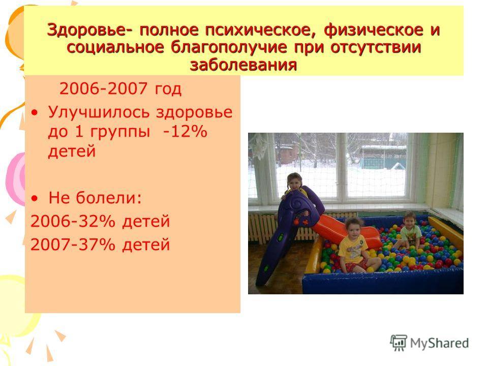 Здоровье- полное психическое, физическое и социальное благополучие при отсутствии заболевания 2006-2007 год Улучшилось здоровье до 1 группы -12% детей Не болели: 2006-32% детей 2007-37% детей