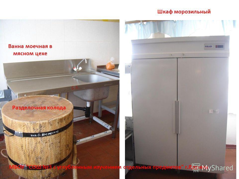 МБОУ СОШ 3 с углубленным изучением отдельных предметов г.Ядрина Шкаф морозильный Ванна моечная в мясном цехе Разделочная колода