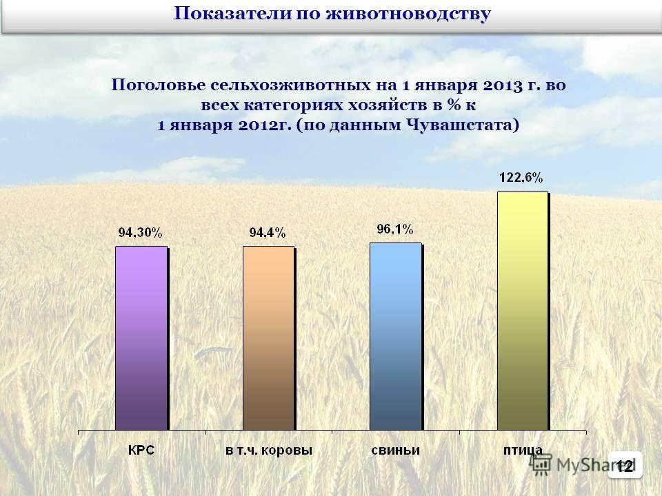 12 Показатели по животноводству Поголовье сельхозживотных на 1 января 2013 г. во всех категориях хозяйств в % к 1 января 2012г. (по данным Чувашстата)