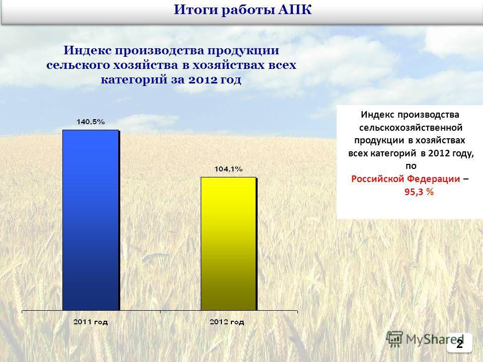 2 Индекс производства продукции сельского хозяйства в хозяйствах всех категорий за 2012 год Итоги работы АПК Индекс производства сельскохозяйственной продукции в хозяйствах всех категорий в 2012 году, по Российской Федерации – 95,3 %