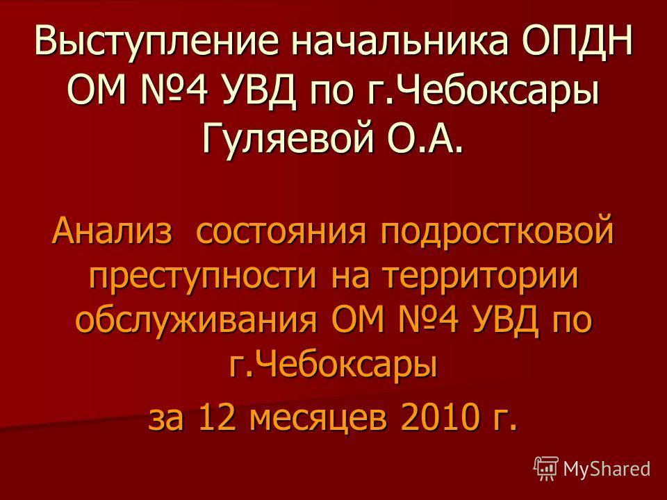 Выступление начальника ОПДН ОМ 4 УВД по г.Чебоксары Гуляевой О.А. Анализ состояния подростковой преступности на территории обслуживания ОМ 4 УВД по г.Чебоксары за 12 месяцев 2010 г.