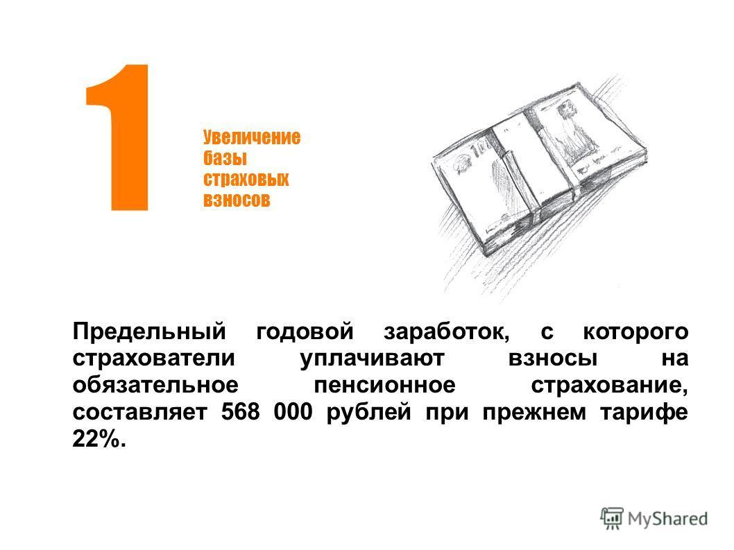 Увеличение базы страховых взносов 1 Предельный годовой заработок, с которого страхователи уплачивают взносы на обязательное пенсионное страхование, составляет 568 000 рублей при прежнем тарифе 22%.