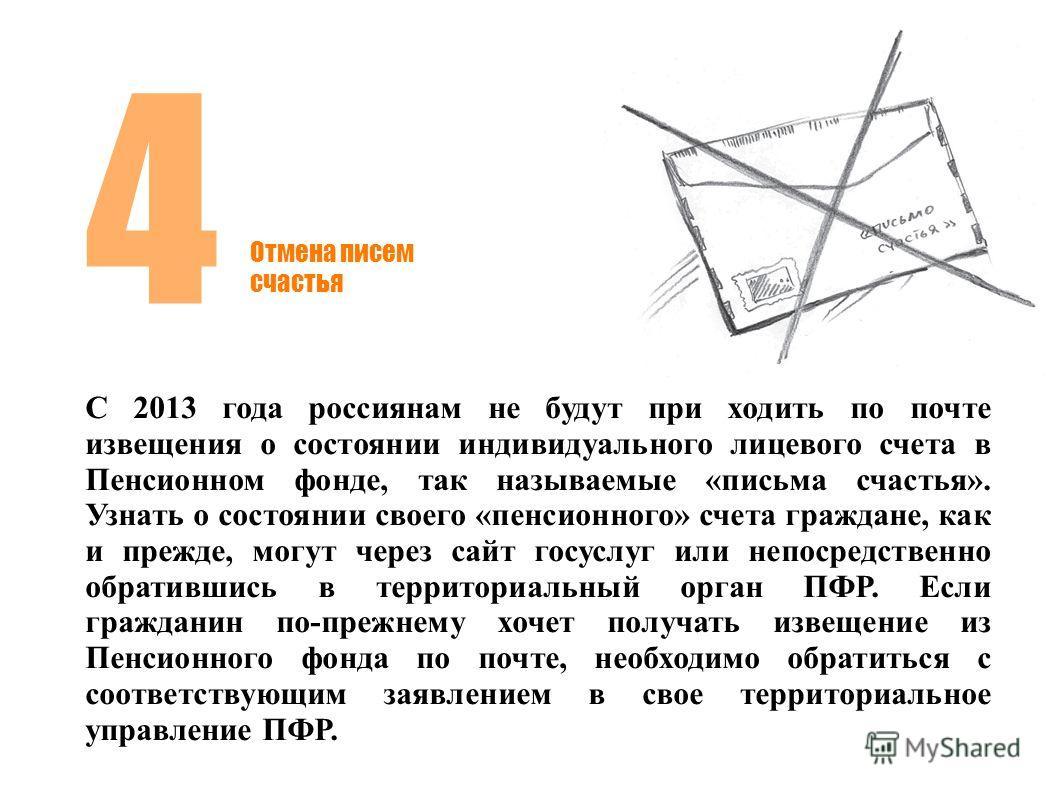 Отмена писем счастья 4 С 2013 года россиянам не будут при ходить по почте извещения о состоянии индивидуального лицевого счета в Пенсионном фонде, так называемые «письма счастья». Узнать о состоянии своего «пенсионного» счета граждане, как и прежде,