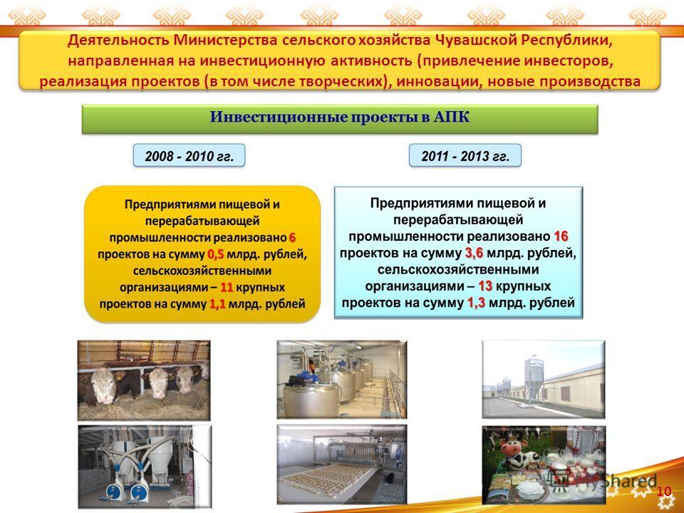 10 Деятельность Министерства сельского хозяйства Чувашской Республики, направленная на инвестиционную активность (привлечение инвесторов, реализация проектов (в том числе творческих), инновации, новые производства