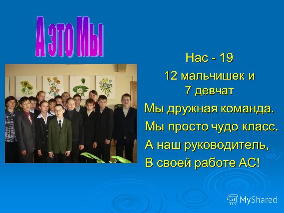 Нас - 19 12 мальчишек и 7 девчат Мы дружная команда. Мы просто чудо класс. Мы просто чудо класс. А наш руководитель, А наш руководитель, В своей работе АС! В своей работе АС!