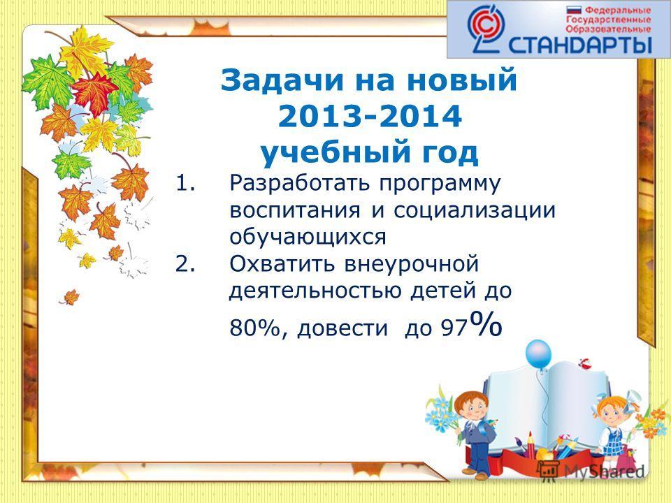Задачи на новый 2013-2014 учебный год 1.Разработать программу воспитания и социализации обучающихся 2.Охватить внеурочной деятельностью детей до 80%, довести до 97 %