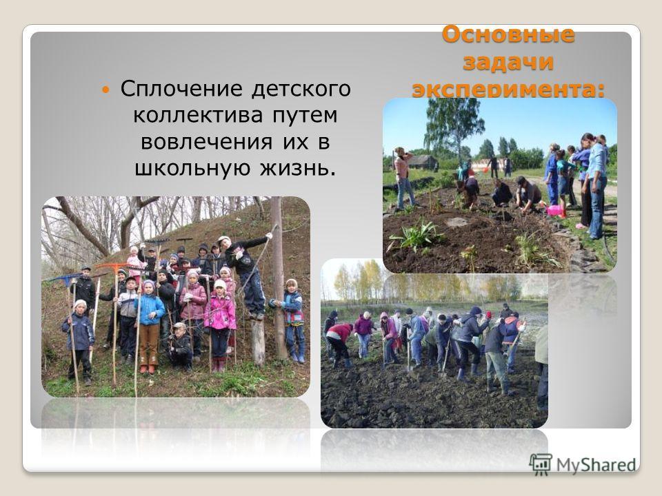Основные задачи эксперимента: Сплочение детского коллектива путем вовлечения их в школьную жизнь.