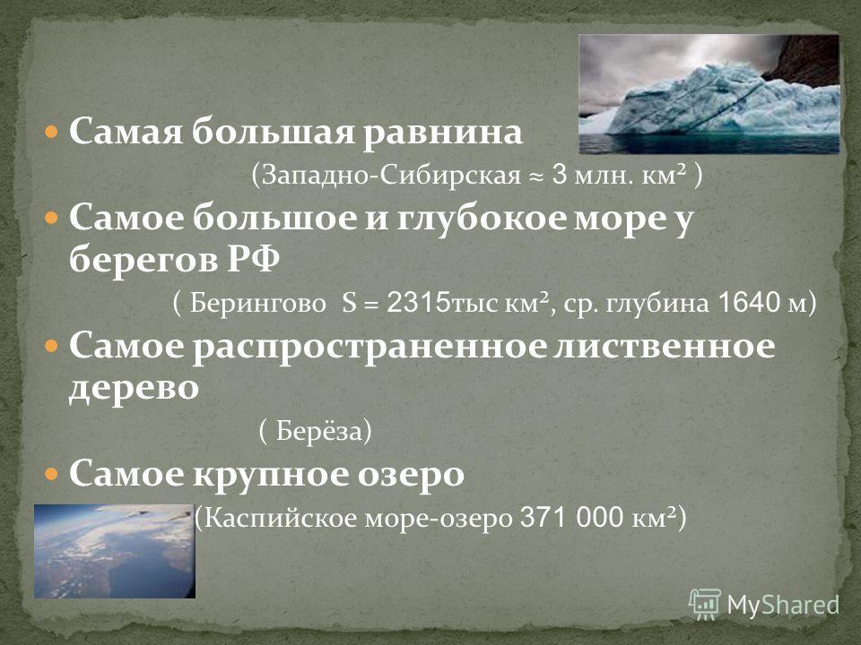 Самая высокая точка России (г.Эльбрус 5642 м) Самое чистое море (Чукотское) Самое распространенное дерево России (лиственница) Самая извилистая река ( Пьяна – приток Суры)