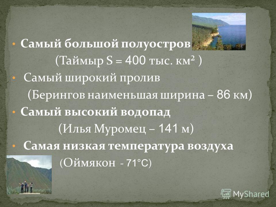 Самая низкая отметка (уровень Каспийского моря - 28 м) Самый большой остров (Сахалин S = 76,4 тыс. км²) Самый ценный мех промыслового зверя на рынке (Соболя) Самая длинная река (Обь с Иртышом 5410 км)