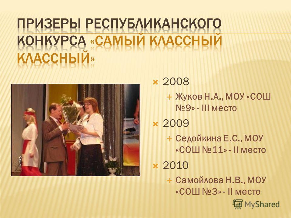 2008 Жуков Н.А., МОУ «СОШ 9» - III место 2009 Седойкина Е.С., МОУ «СОШ 11» - II место 2010 Самойлова Н.В., МОУ «СОШ 3» - II место