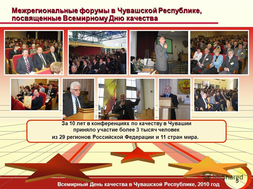 Всемирный День качества в Чувашской Республике, 2010 год 5 Межрегиональные форумы в Чувашской Республике, посвященные Всемирному Дню качества За 10 лет в конференциях по качеству в Чувашии приняло участие более 3 тысяч человек из 29 регионов Российск