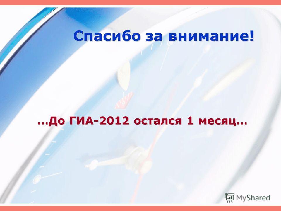 Спасибо за внимание! …До ГИА-2012 остался 1 месяц…