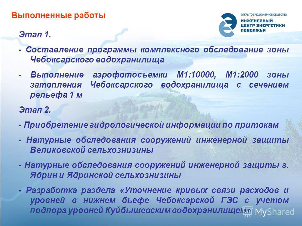 Выполненные работы Этап 1. - Составление программы комплексного обследование зоны Чебоксарского водохранилища - Выполнение аэрофотосъемки М1:10000, М1:2000 зоны затопления Чебоксарского водохранилища с сечением рельефа 1 м Этап 2. - Приобретение гидр