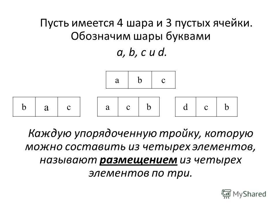 Пусть имеется 4 шара и 3 пустых ячейки. Обозначим шары буквами a, b, c и d. Каждую упорядоченную тройку, которую можно составить из четырех элементов, называют размещением из четырех элементов по три. abc acb b a c dcb