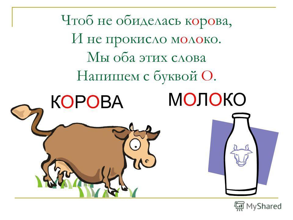 Чтоб не обиделась корова, И не прокисло молоко. Мы оба этих слова Напишем с буквой О. КОРОВА МОЛОКО